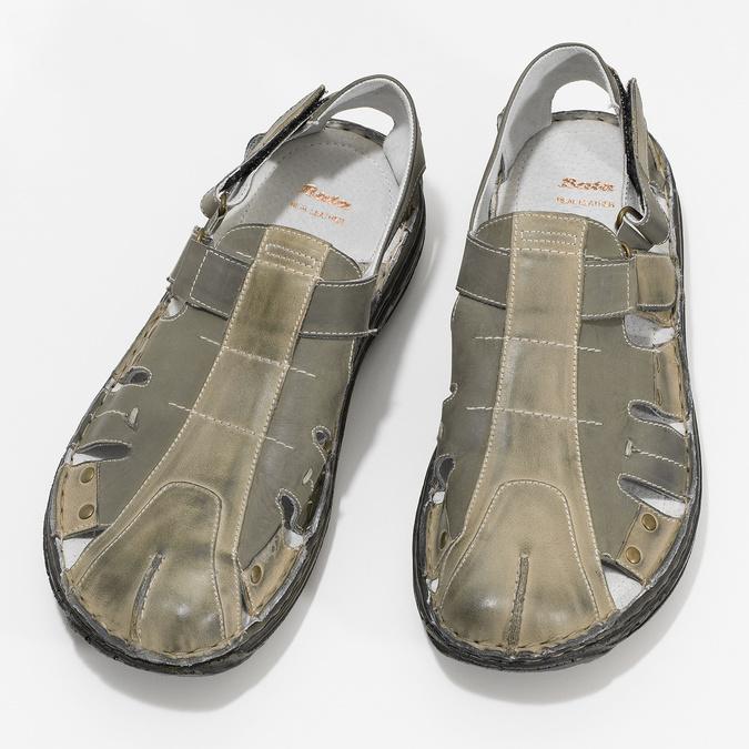 Men's leather sandals bata, brown , 866-2622 - 16