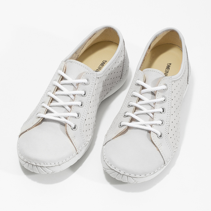 Ladies' casual leather shoes weinbrenner, white , 546-1602 - 16